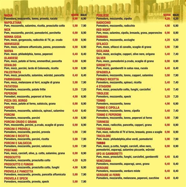 Ampio listino per pizze e bibite for Arredamenti bar prezzi
